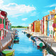 Narrow canal and colorful houses in Burano, Italy. - PhotoDune Item for Sale