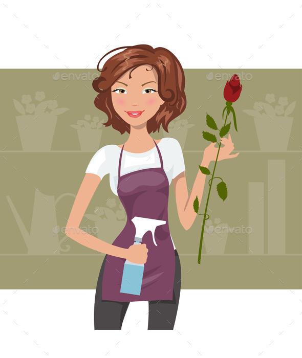 GraphicRiver Woman Florist 11889784