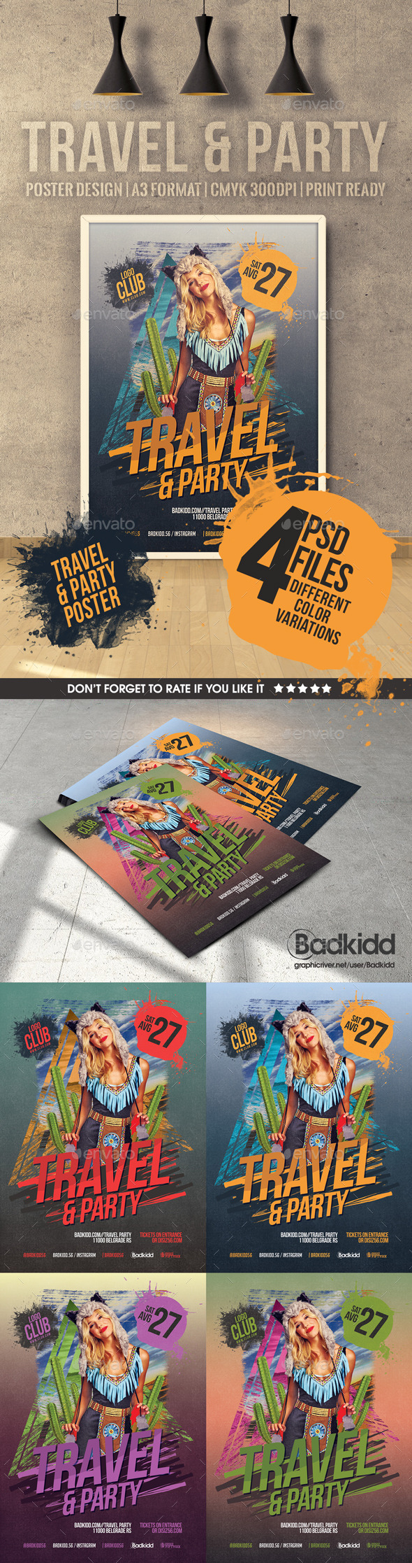 GraphicRiver Travel & Party poster 11889794