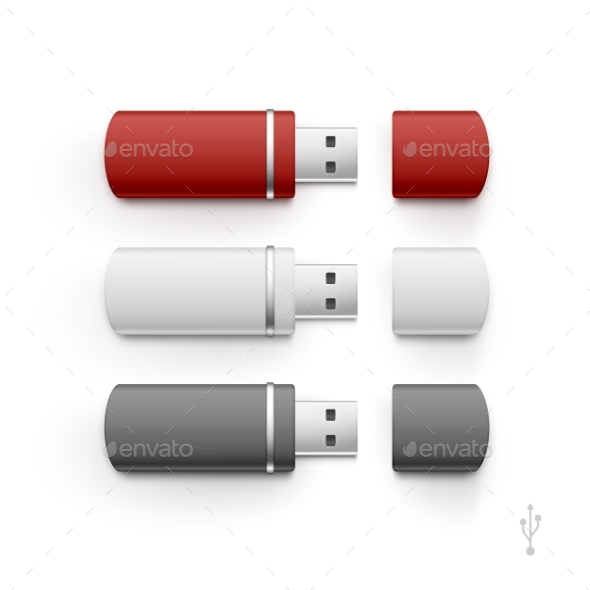 GraphicRiver USB Flash Drive Stick Memory Vector Set Isolated 11889874