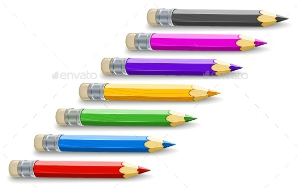 GraphicRiver Set of Colour Pencils For Drawing 11890174