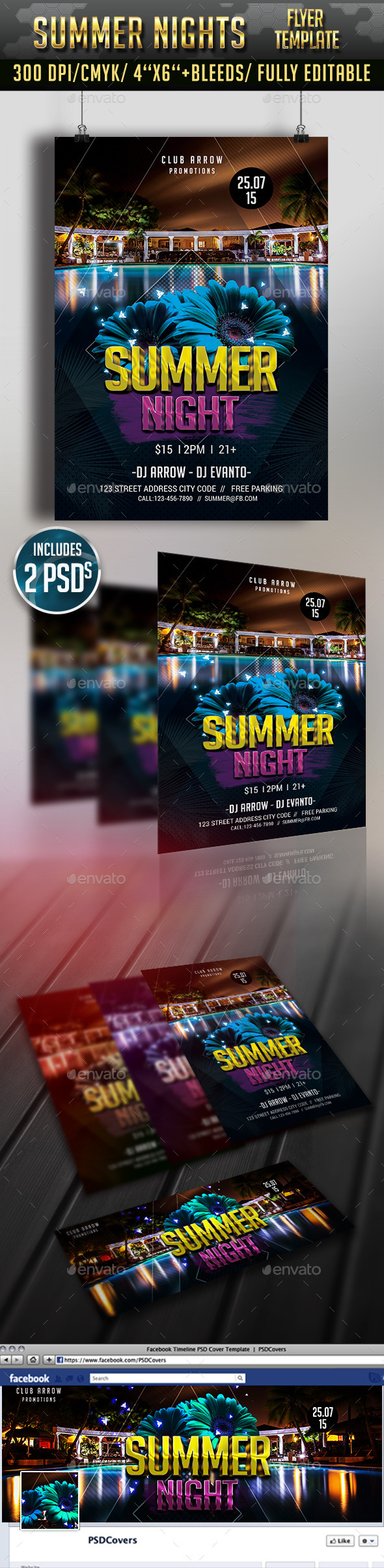 GraphicRiver Summer Night Flyer and Facebook Cover 11885888