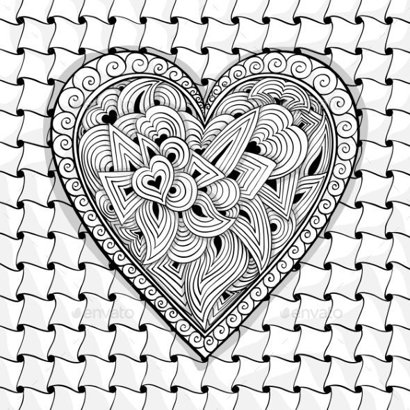 GraphicRiver Vector Black And White Heart Pattern 11890892