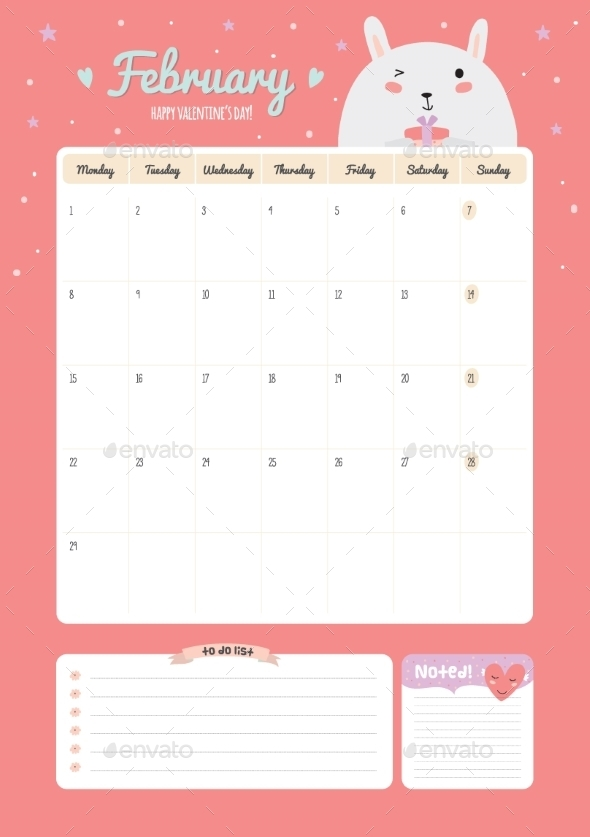GraphicRiver Cute Calendar Diary Template For 2016 With Animals 11890939