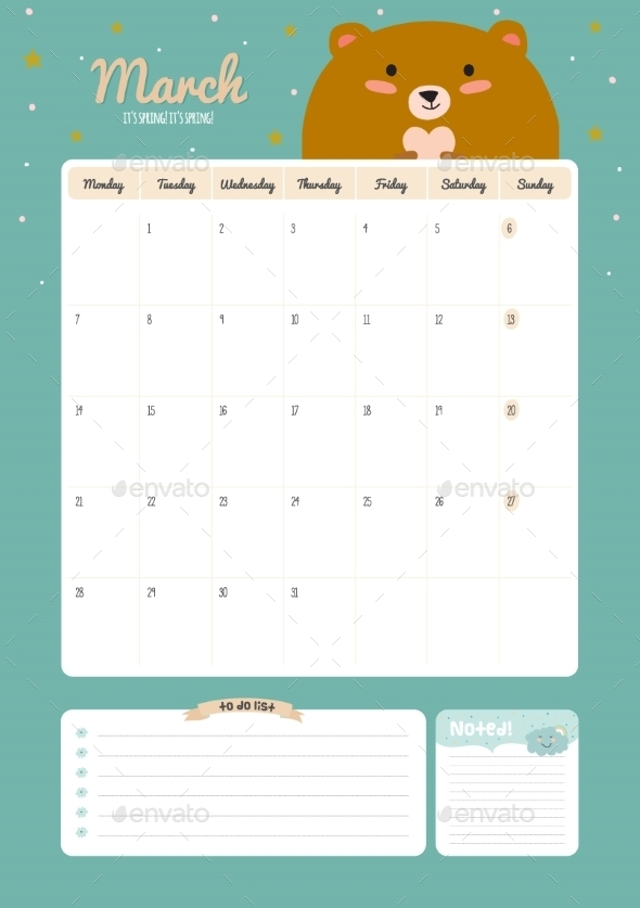 GraphicRiver Cute Calendar Diary Template For 2016 With Animals 11890940
