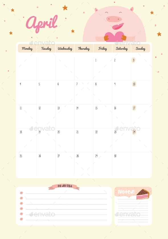 Calendar Diary Template For 2016 With Animals