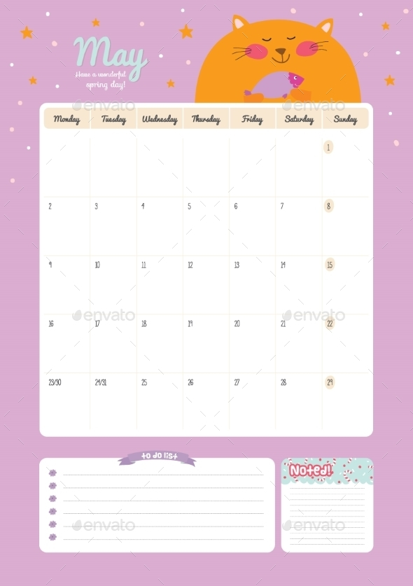 GraphicRiver Calendar Diary Template For 2016 With Animals 11890943
