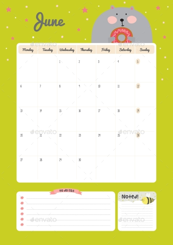 GraphicRiver Calendar Diary Template For 2016 With Animals 11890944