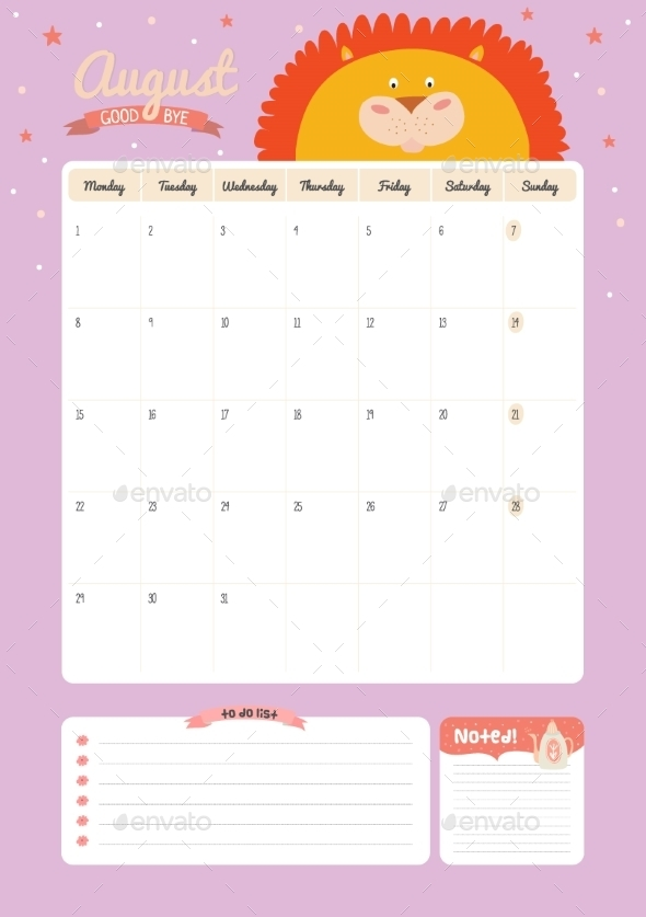 GraphicRiver Calendar Diary Template For 2016 With Animals 11890947