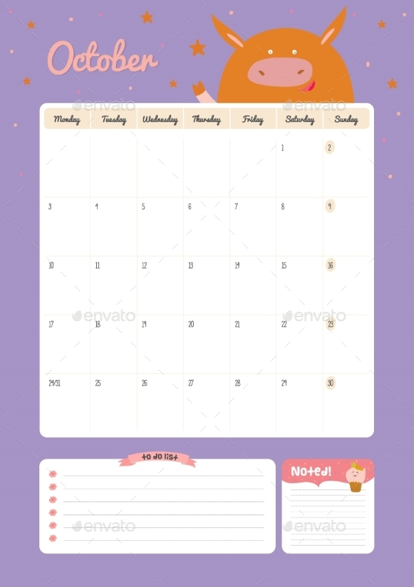 GraphicRiver Calendar Diary Template For 2016 With Animals 11890951