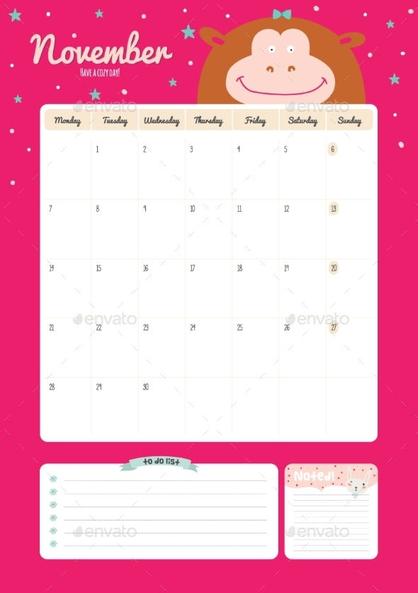 GraphicRiver Calendar Diary Template For 2016 With Animals 11890952