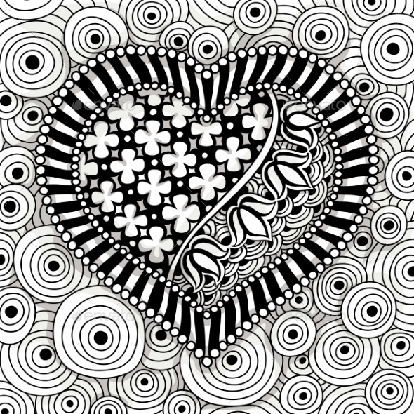 GraphicRiver Vector Black And White Heart Pattern 11890989