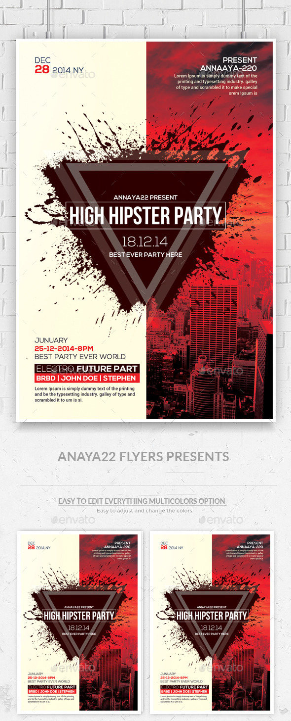 GraphicRiver Hipster Party Flyers Psd Template 11891005