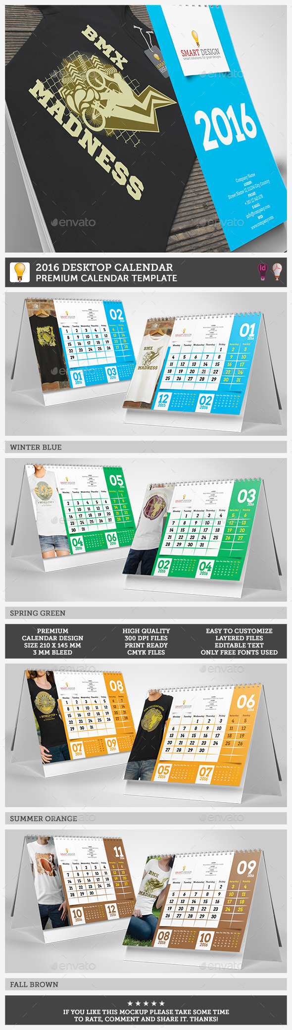 GraphicRiver 2016 Desktop Calendar Template 11891186
