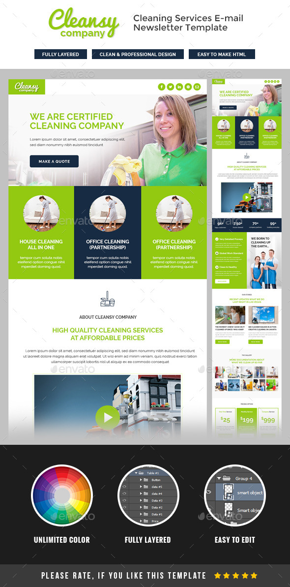 GraphicRiver Cleansy Cleaning Service E-newsletter Template 11891468
