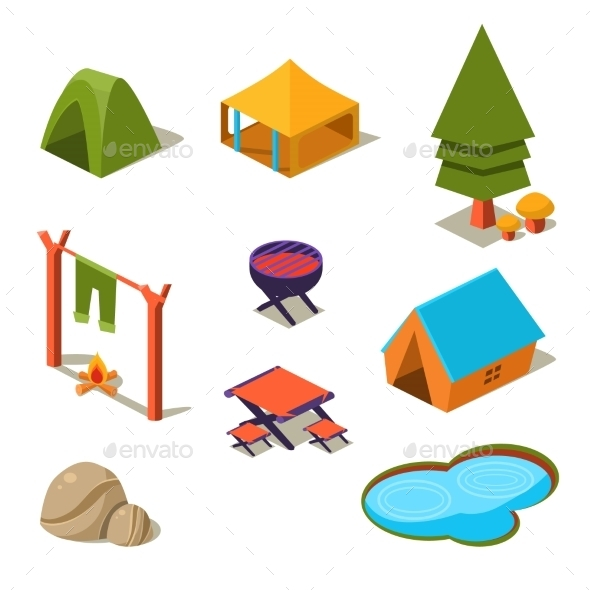 GraphicRiver Isometric 3D Forest Camping Elements For Landscape 11891496