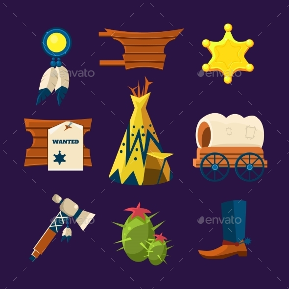 GraphicRiver Wild West Cowboy Flat Icons 11891498