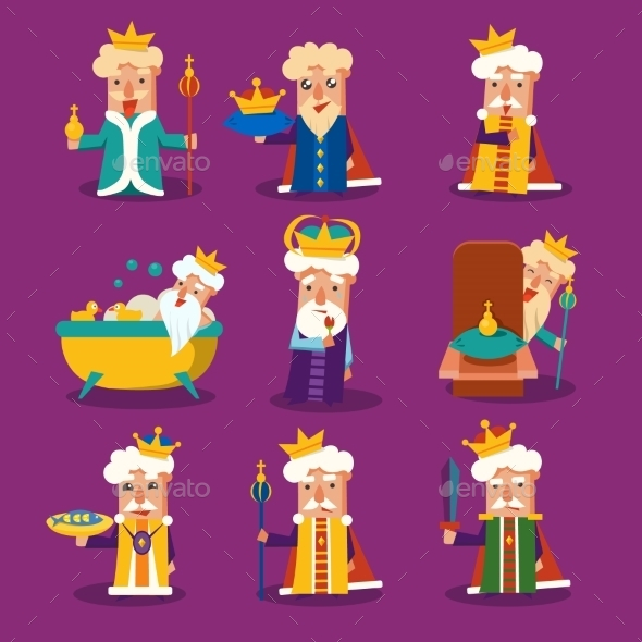 GraphicRiver King Cartoon Illustration Set 11891501