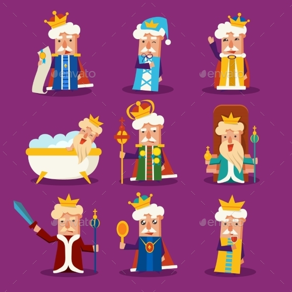 GraphicRiver King Cartoon Illustration Set 11891503