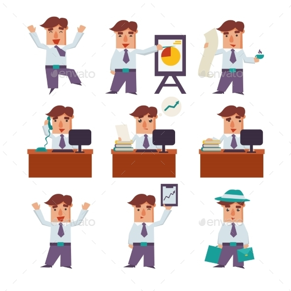 GraphicRiver Set Of Businessman Activities Vector 11891506