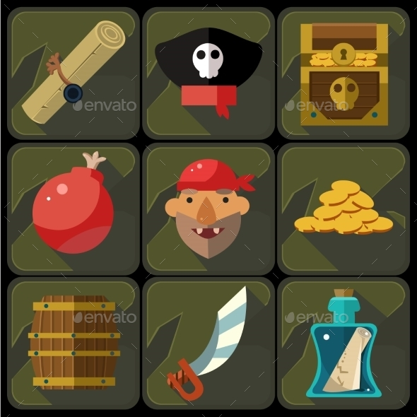 GraphicRiver Vector Color Flat Icons Set And Illustrations 11891513