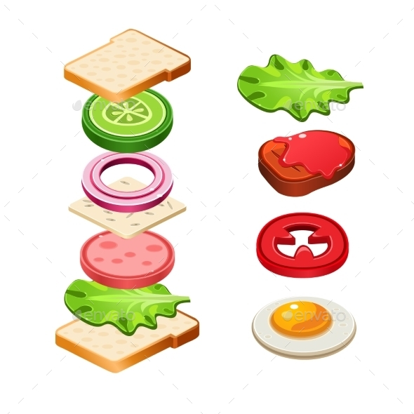 GraphicRiver Sandwich Ingredients Food Vector Illustration 11891515