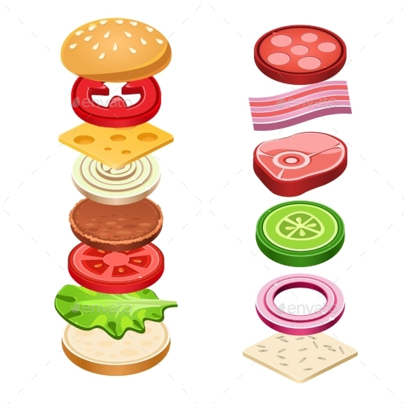 GraphicRiver Sandwich Ingredients Food Vector Illustration 11891517