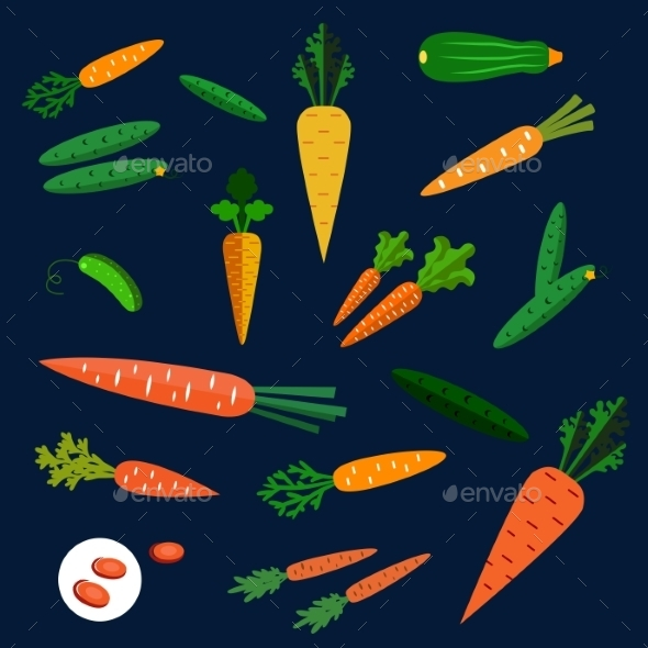 GraphicRiver Healthy Carrot And Cucumber Flat Vegetables 11891522