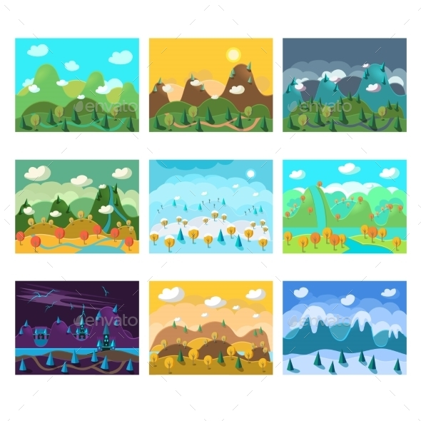 GraphicRiver Vector Landscape Cartoon Seamless Backgrounds Set 11891525
