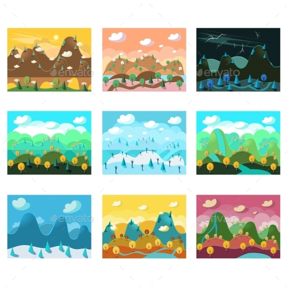 GraphicRiver Vector Landscape Cartoon Seamless Backgrounds Set 11891526