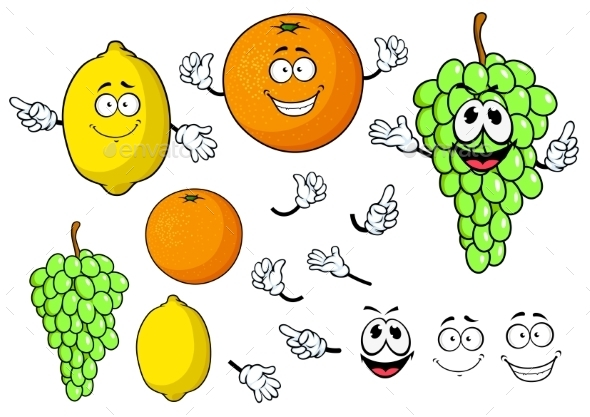 GraphicRiver Happy Cartoon Grape Lemon And Orange Fruits 11891529