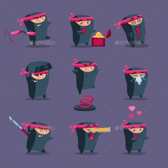 GraphicRiver Collection Of Cute Cartoon Ninja 11891530