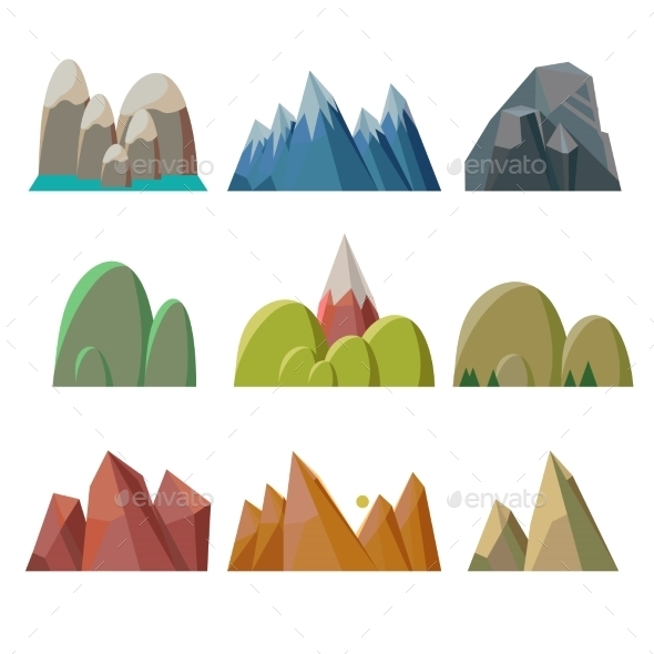 GraphicRiver Mountains Isolated 11891532