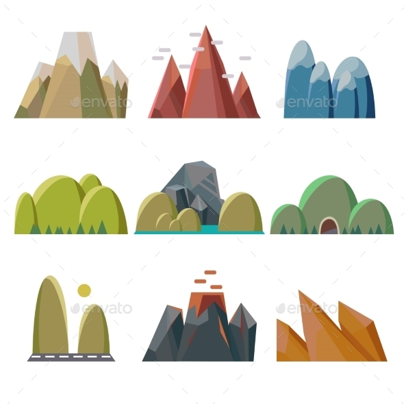 GraphicRiver Mountains Isolated 11891536