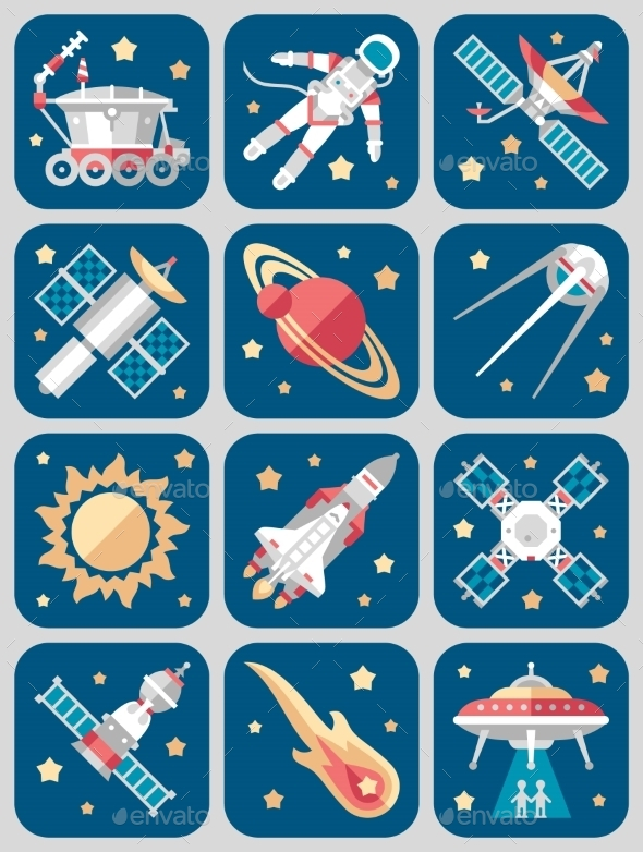 GraphicRiver Vector Illustration Set On Space 11891541