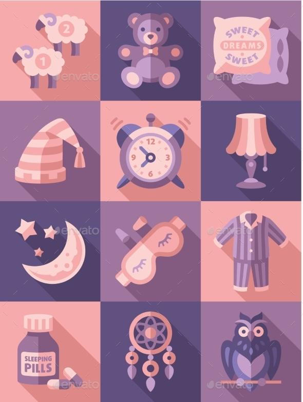 GraphicRiver Sleep Time Icons Flat Vector Illustration 11891548