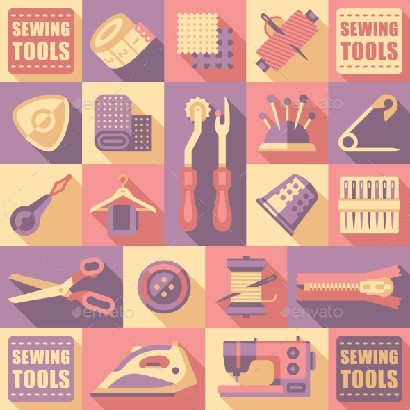 GraphicRiver Sewing Tailoring And Needlework Decorative Icons 11891550