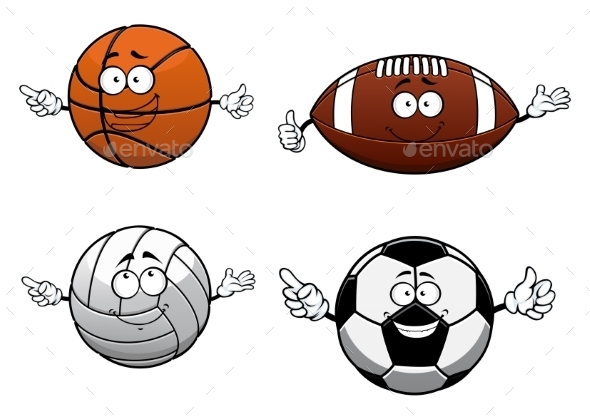 GraphicRiver Cartooned Sports Balls Characters With Happy Face 11891555
