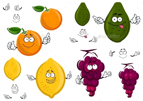 GraphicRiver Funny Cartoon Isolated Fruit Characters 11891576