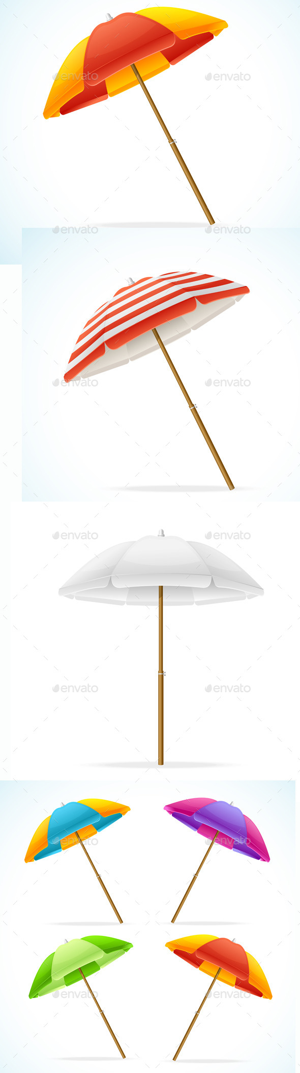 GraphicRiver Vector Beach Umbrella Set 11891604