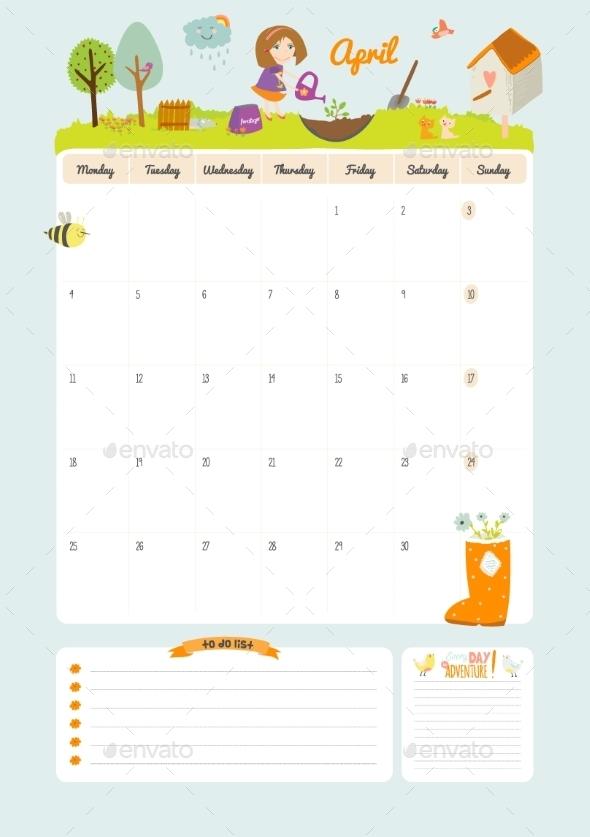 Calendar Diary 2016 With Seasonal Themes