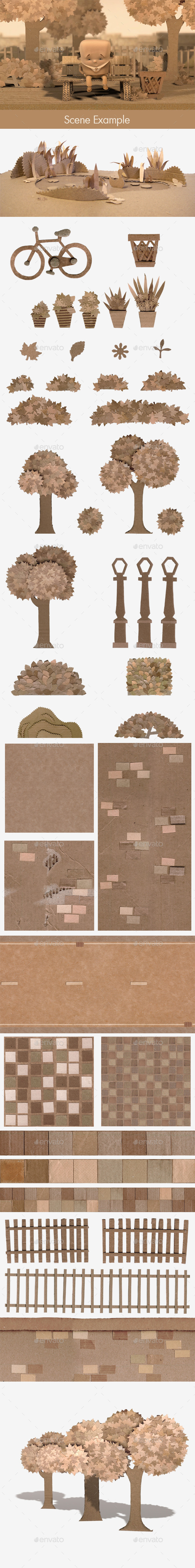 44 Handmade Cardboard City Scene Textures - 3DOcean Item for Sale
