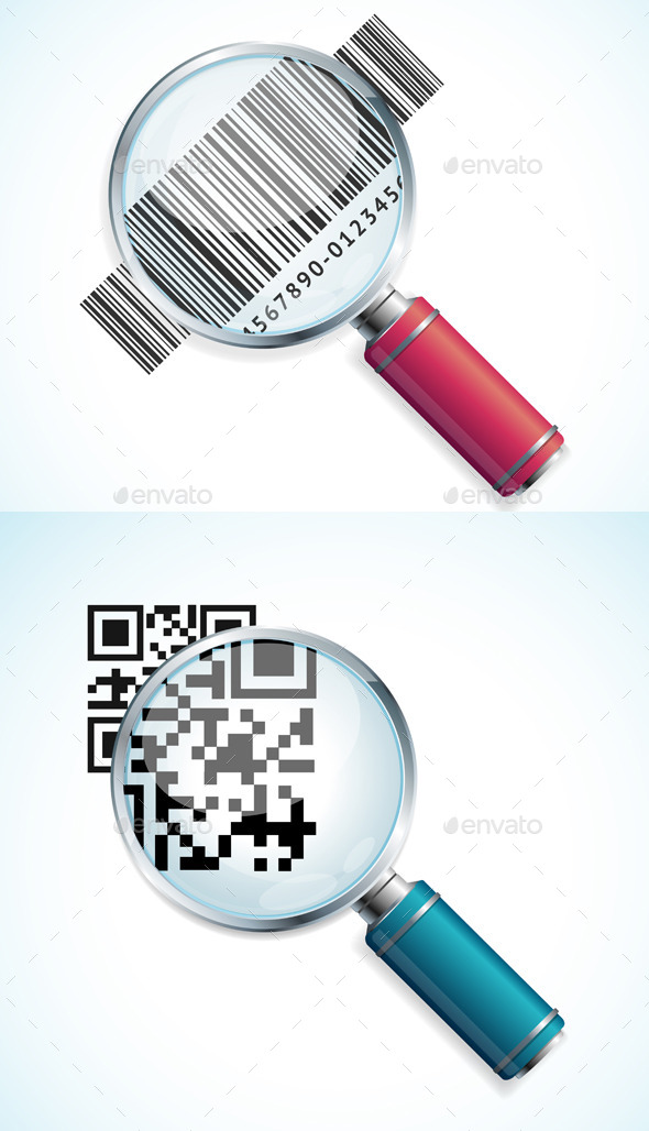 GraphicRiver Vector Magnifier with QR Code and Barcode 11891800