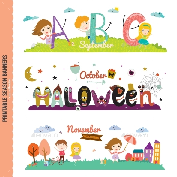GraphicRiver Monthly Seasonally Vector Backgrounds Banners 11891828