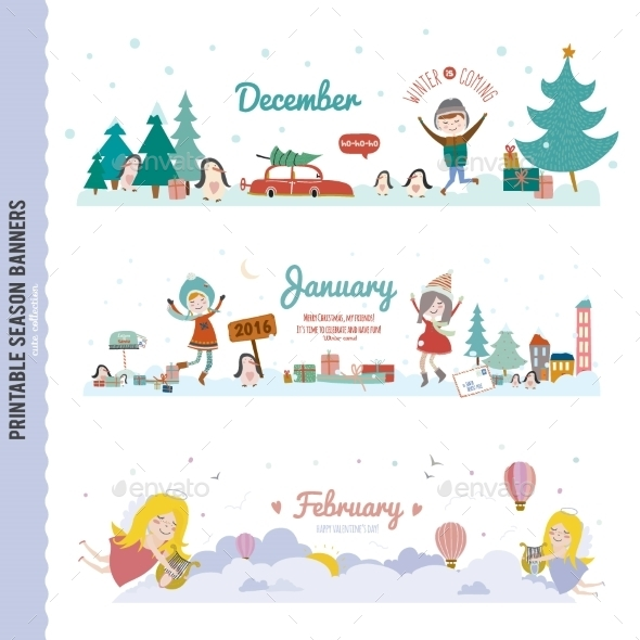 GraphicRiver Monthly Seasonally Vector Backgrounds Banners 11891831