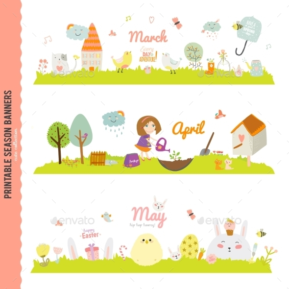 GraphicRiver Monthly Seasonally Vector Backgrounds Banners 11891839