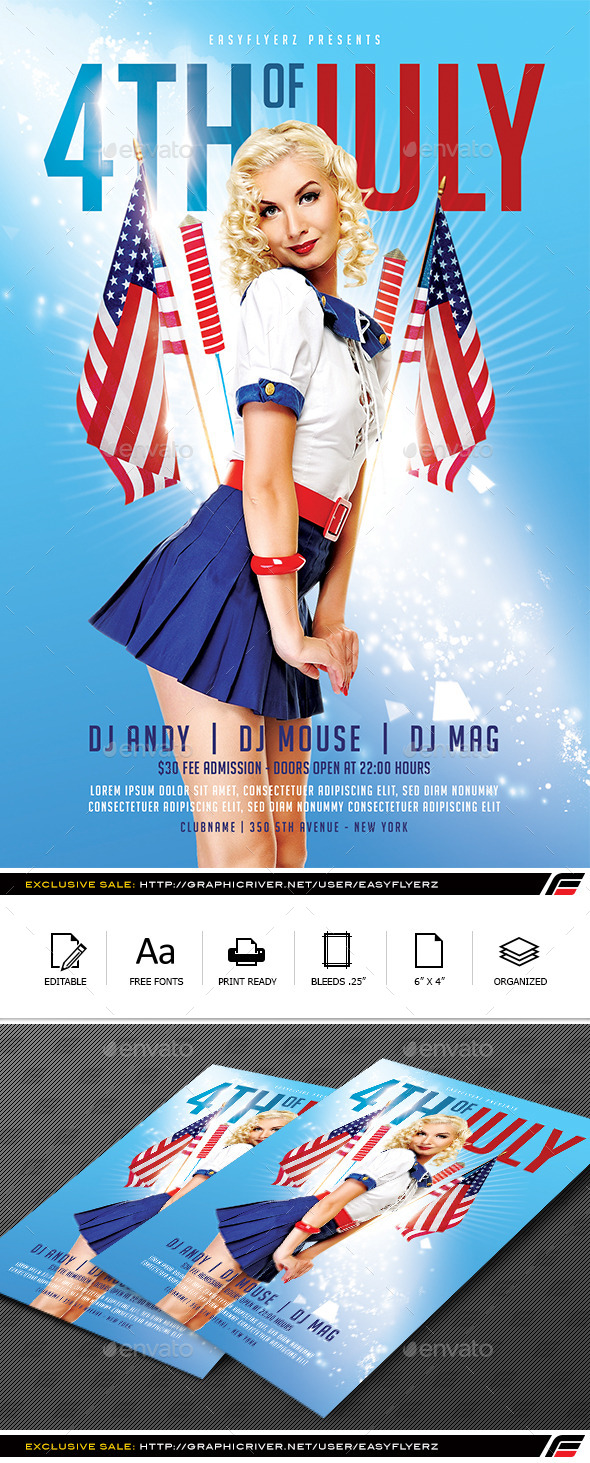 GraphicRiver 4TH of July Flyer Template Vol.01 11891922