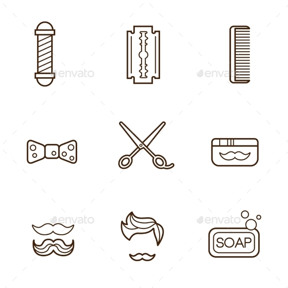 GraphicRiver Barber Icons 11891925