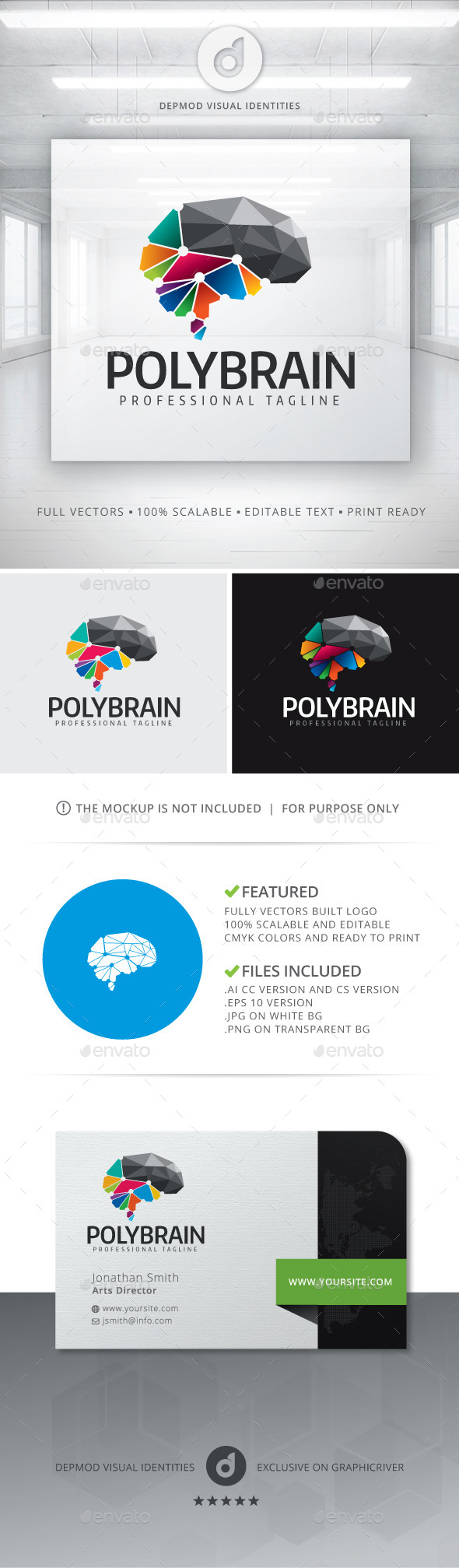 GraphicRiver Poly Brain Logo 11891933