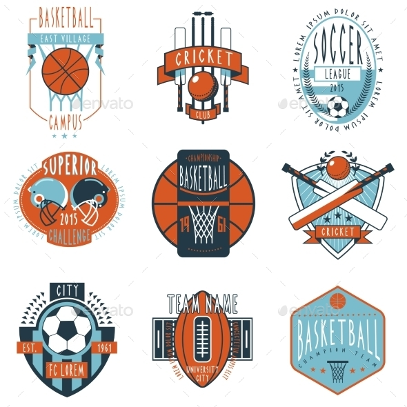 GraphicRiver Sport Clubs Labels Icons Set 11891934